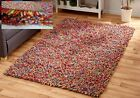 THICK FLUFFY CHUNKY FELTED WOOL PILE VIBRANT MULTI COLOURED LONG SOFT SHAGGY RUG