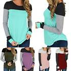 Women Color Block Long Sleeve T-Shirt Slim Warm Basic Stretch Blouse Fitted Top