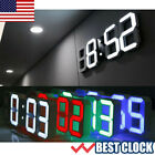 Modern Digital 3D White LED Wall Clock Alarm Clock Snooze 12 Hour Display NEW US