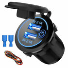 Aluminum Dual QC 3.0 USB Car Charger Socket Power Outlet with Blue LED Indicator