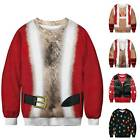 Christmas Mens Womens 3D Print Hairy Chest Ugly Sweater Xmas Pullover Sweatshirt