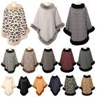 New Ladies Leopard Plain Plaid Faux Fur Trim Collar Winter Fashion Poncho
