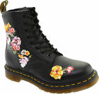 Women's Shoes Dr. Martens 1460 VONDA II 8 Eye Floral Leather Boot 24067001 BLACK