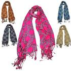 New Ladies Multicoloured Leaves Winter Fashion Large Soft Cosy Neck Scarf Shawl