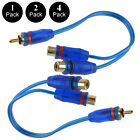 """2x 4x  7"""" RCA Audio Jack Cable Y Adapter Splitter 1 Female to 2 Male Plug OFC"""