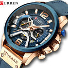 CURREN Men's Sport Military Leather Wristwatch Brand Fashion Chronograph Watches image