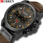 CURREN Mens Military Watch Luxury Sports Chronograph Wrist Watch Genuine Leather image