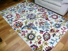 Thick Bright Traditional Tennor Design Floral Cream Blue Floor Area Rug