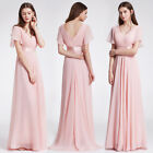 Ever-Pretty US Short Sleeve V-neck Bridesmaid Long Dress Pink Evening Gown 09890