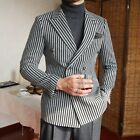 Men's Striped Blazer Suit Double-breasted Peak Lapel Formal Party Prom Tuxedos