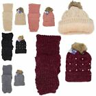 New Pearl Decoration Faux Fur Pom Pom Ladies Winter Scarf Beanie Hat Set