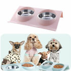 Double Food Water Feeding Bowl For Cat Pet Dog Puppy Non-Slip Stainless Dish UK