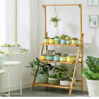 Bamboo Hanging Plant Stand Planter Shelves Flower Pot Organizer Storage Rack New