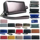 New Ladies Faux Leather Money Organiser Large Wristlet Purse Wallet