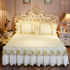 Embroidery Quilted Cotton Chiffon Lace Bedspread Queen Full Bedskirt Pillow Case image