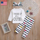 Toddler Baby Letter Top T-shirt Clothes+Floral Stripe Pants+Headband Set Outfits