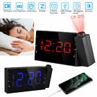 7'' LCD Digital Projection Alarm Clock LED Dual Alarms Snooze Function Dimmable