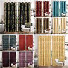 Jacquard Curtains Fully Lined Eyelet Ring Top & Pencil Pleat Tape Top Curtain