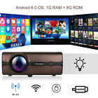 Wireless 1080P LED Projector 4K WiFi Android 6.0 BT 8GB Movie / Projector Screen