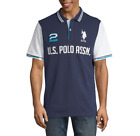 NWT U.S. POLO ASSN. EMBROIDERED MEN'S POLO NAVY BLUE SHORT SLEEVE SHIRT