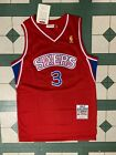 Allen Iverson #3 Philadelphia 76ers Red Throwback Rookie Mens Hardwood Jersey on eBay