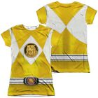 Official Power Rangers TV Show Yellow Emblem Logo Costume Allover Ladies T-shirt