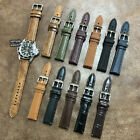 Size 18/20/22mm Easy Release Distressed Cow Leather Padded Watch Strap/Band #142 image