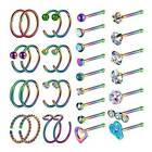 32× 20G Surgical Steel CZ Nose Pin Bone Stud Nose Hoop Ring Set Piercing Jewelry