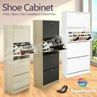 60 Pairs Modern Shoe Cabinet Wooden Storage Shelf 4 Rack 3 Compartment WH/BK