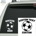 Soccer Ball Silhouette with Soccer Mom Text - Vinyl Sports Car Decal Sticker