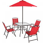 DINING SET PATIO OUTDOOR SET 6 Pieces Umbrella 4 Chairs Table Multiple Colors