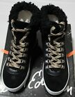 SAM EDELMAN LUTHER BLACK FAUX SHRLING HI-TOP SNEAKER (1/2 SZ BIGGER)