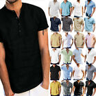 Men Summer Casual Cotton V Neck Short Sleeve Tee Tops Solid Loose Shirt T-shirts