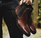 New Handmade Chelsea Black Pure Leather Ankle Boots for Men's, Dress Boots