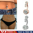 Sexy Navel Belly Button Rings Crystal Diamond Bar Barbell Body Piercing Jewelry image