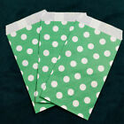 Green Small Paper Treat Bags 3x5 Polka Dots Flat Food Retail Cute Party Favors