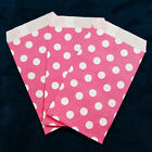 Hot Pink Small Paper Treat Bags 3x5 Polka Dots Flat Food Retail Party Favors