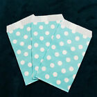 Sky Blue Small Paper Treat Bags 3x5 Polka Dots Flat Food Retail Party Favors