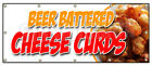 BEER BATTERED CHEESE CURDS BANNER SIGN wisconsin poutine fried fresh