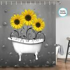 Sunflowers In Bathtub Bubbles Grunge Fabric Shower Curtain Hooks Include,70 In