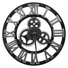 12 16 Large Wall Clock Antique 3D Gear Retro Roman Numeral Silent Sweep Silver