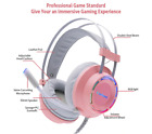 Girly Pink Headphones Gaming Headset Wired Microphone Professional Gamer 7.1