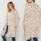 NEW WHITE TAN LEOPARD HONEYME SWEATER CARDIGAN SIZE S, M, L, XL, 2X, 3X