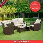 SCANDI RATTAN GARDEN FURNITURE 4 PIECE PATIO SET TABLE CHAIRS GREY OR BROWN