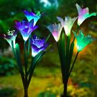 4 Pc Solar Garden Lights Outdoor Multi-color Lily Flowers For Patio Decoration