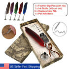 Natural Feather Quill Pen Set Dip Pen and 5pcs Stainless Steel Nibs Gift Box