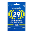 LYCAMOBILE Preloaded Sim Card Prepaid $23/$29/$35/$39 1/2/3 Months TextTalk Data