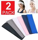 2-pack Headband Stretch Sports Yoga Gym  Hair Band Wrap Sweatband Womens Mens