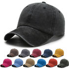 Distressed Cotton Solid Polo Denim Baseball Cap Hat Ball Dad Washed Vintage Chic