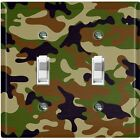 Metal Light Switch Cover Wall Plate Camouflage Green Brown Pattern